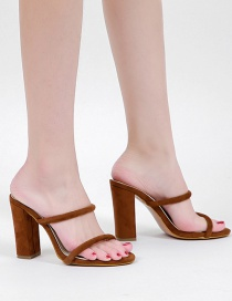 Fashion Brown Large Size Sandals With Thick High Heels
