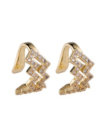 Fashion A Gold Color Double Wave Lightning Ripple Earrings