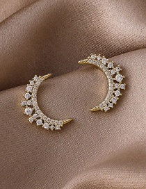 Fashion Gold Color Moon Sparkling Diamond Earrings