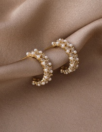 Fashion Gold Color Pearl Stud Earrings