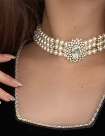 Fashion Gold Color Crystal Diamond Pearl Necklace