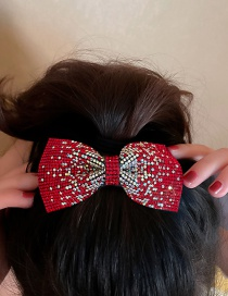 Fashion Red Spring Clip Full Diamond Bow Hairpin