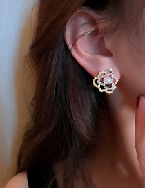 Fashion Silver Color Needle Gold Diamond And Pearl Hollow Flower Stud Earrings