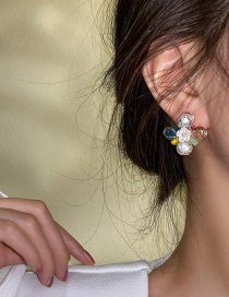 Fashion Style One (silver Color Needle Flowers) Gem Flower Stud Earrings With Diamonds