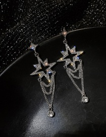 Fashion Silver Color Needle Pendant Diamond Long Star-shaped Eight-pointed Star Earrings