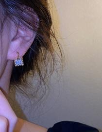 Fashion Transparent Zircon Square Zircon And Diamond Earrings