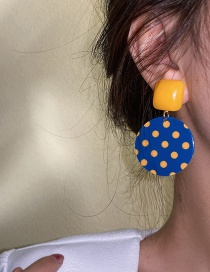 Fashion Silver Color Needle Disc Polka Dot Contrasting Color Polka Dot Square Earrings