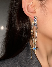 Fashion Silver Color Pin And Diamond Earrings Zircon And Diamond Star Tassel Long Earrings