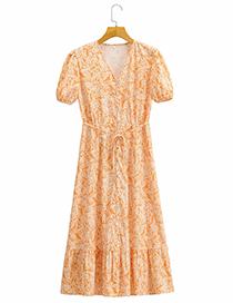Fashion Yellow Printed Belted Dress