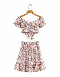 Fashion Pink Floral Printed Short Sleeve Skirt Suit