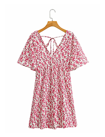 Fashion Red Floral Printed Lace Dress