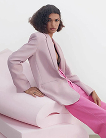 Fashion Nude Pink Straight Blazer With Pockets