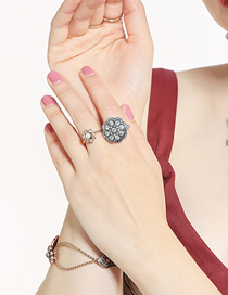 Fashion Silver Color Alloy Full Diamond Inlaid Flower Ring