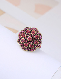 Fashion Gold Color Alloy Full Diamond Inlaid Flower Ring