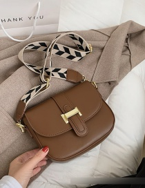 Fashion Brown Wide Shoulder Strap Crossbody Shoulder Bag