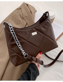 Fashion Coffee Color Embroidered Rhomboid Pu Leather Large Capacity Shoulder Messenger Bag
