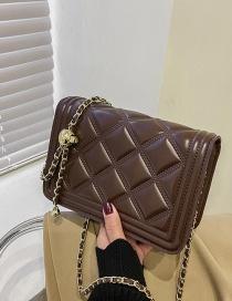 Fashion Coffee Color One-shoulder Diamond Chain Crossbody Bag