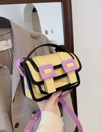Fashion Yellow Candy Color Contrast Stitching Shoulder Messenger Bag