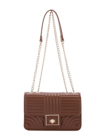 Fashion Brown Embroidery Stitching Chain One-shoulder Messenger Bag