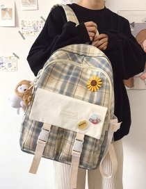 Fashion Yellow Grid To Send Pendant Large Capacity Checked Backpack