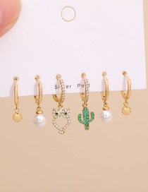 Fashion Golden Set Of 6 Copper Inlaid Zircon Owl Pearl Earrings