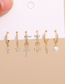 Fashion Golden Set Of 6 Copper Inlaid Zircon Pearl Lightning Stud Earrings