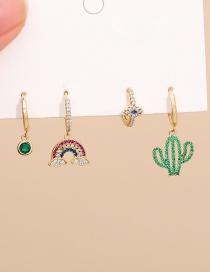 Fashion Golden Copper Inlaid Zircon Rainbow Cactus Earrings 4-piece Set