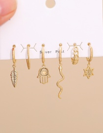 Fashion Golden Set Of 6 Copper Snake Palm Earrings