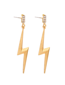 Fashion Gold Color Alloy Lightning Stud Earrings