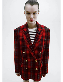 Fashion Red Plaid Double Breasted Blazer
