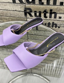 Fashion Violet High Heel Flat Metal Chain Open Toe Shoes