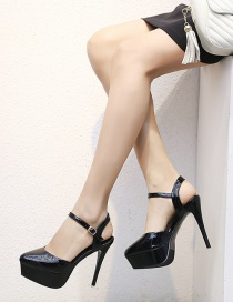 Fashion Black Nude Color Thick-heeled Baotou Patent Leather 15cm High Heels