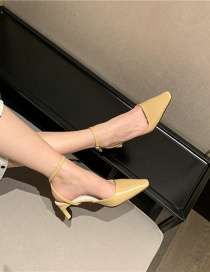 Fashion Apricot Pointed Detachable One-button Stiletto Heel Slippers