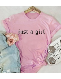 Fashion Pink Letter Print Short-sleeved Cotton T-shirt