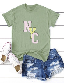 Fashion Armygreen Letter Print Short-sleeved Cotton T-shirt