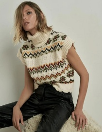 Fashion Multicolor Jacquard Knitted Vest