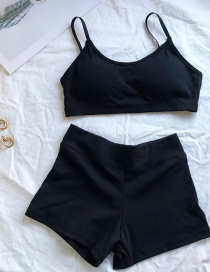 Fashion Black Shorts Vest Suit