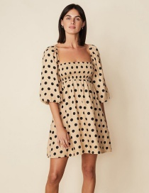 Fashion Leather Pink Polka Dot Elastic Dress