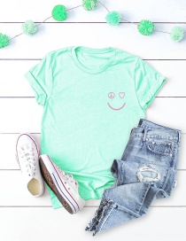 Fashion Mint Green Pocket Smiley Print Short-sleeved Cotton T-shirt