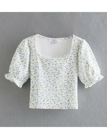 Fashion White Floral Print Lace Stitching Short-sleeved T-shirt