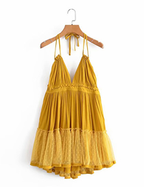 Fashion Yellow Pure Color Halterneck Open Back Mesh Stitching Suspender Skirt