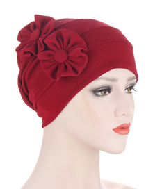 Fashion Wine Red Side Applique Multicolor Two-flower Hat