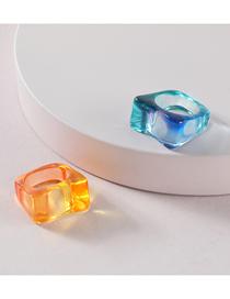 Fashion Blue Resin Acrylic Colorful Flat Ring