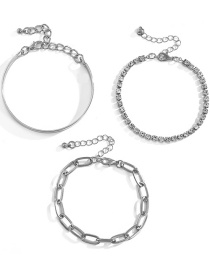 Fashion Silver Color Geometric Metal Hollow Three-piece Bracelet Full Of Diamonds And Smooth