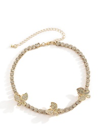 Fashion Gold Color + Ab Color Diamond Micro-encrusted Diamond Butterfly Colorful Necklace Set