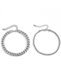 Fashion White K Double Tassel Claw Chain Drill Anklet Set