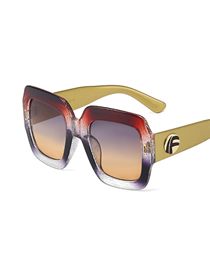 Fashion C11 Crystal Red/top Red Bottom Tea Tri-color Frame Colorful Crystal Sunglasses