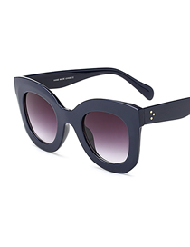 Fashion C2 Navy Blue/gradient Gray Large Frame Butterfly Sunglasses