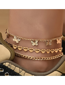 Fashion Gold Color Multi-layer Metal Butterfly Peach Heart Anklet
