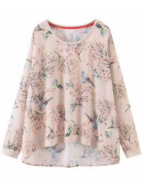 Fashion Solid Color Branch Bird Print Top
